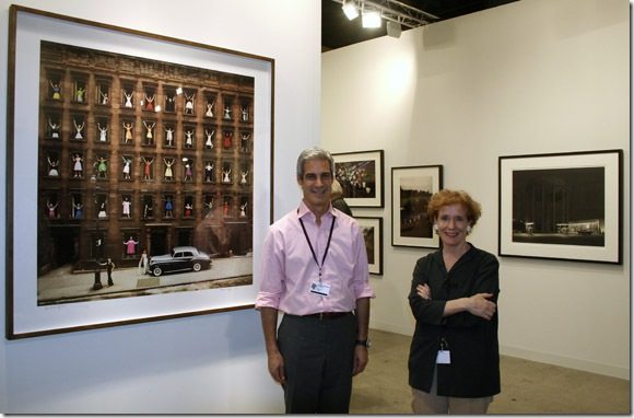 James Danziger with Kitty Bowe Hearty in the Danziger Projects booth. (Photo by Katie Deits)