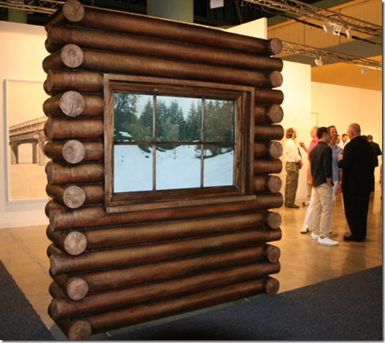 Log Cabin (2009), by Leandro Erlich, outside view. (Photo by Katie Deits)
