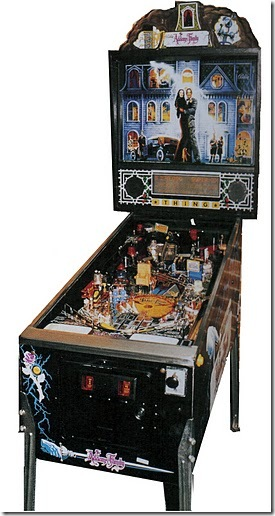 Bally's Addams Family game, made in 1991, and the best-selling pinball machine of all time (artist: John Youssi; designer: Pat Lawler)