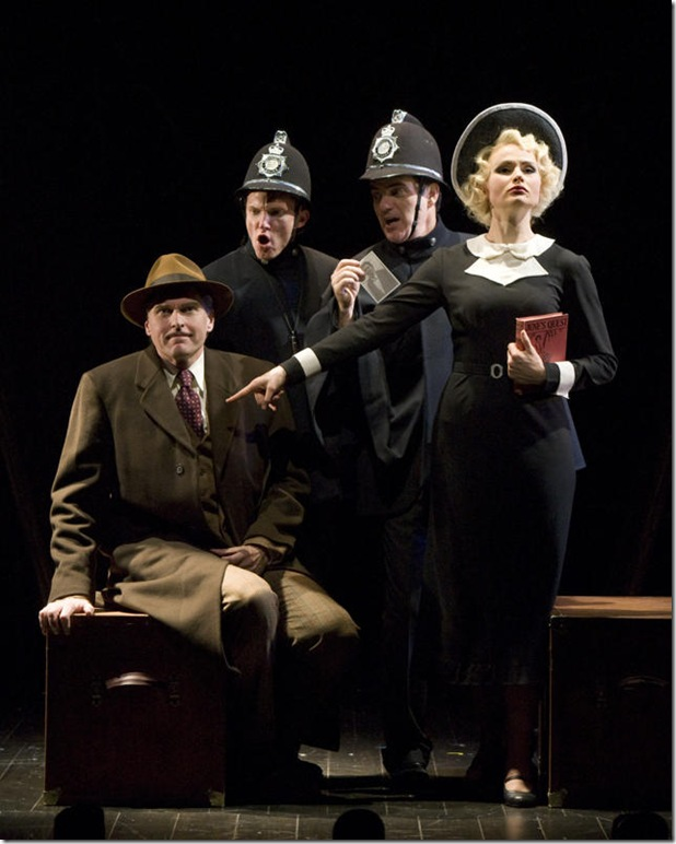 Ted Deasy, Scott Parkinson, Eric Hissom and Claire Brownell in The 39 Steps.
