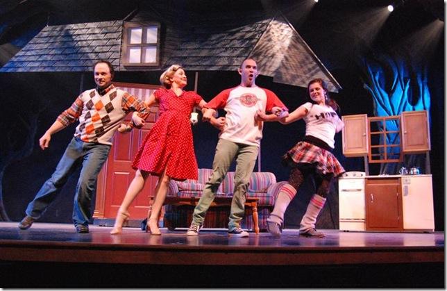 Matthew Korinko, Stephanie Simon, Rick Pena and Anne Chamberlain in Slow Burn Theatre's Bat Boy.