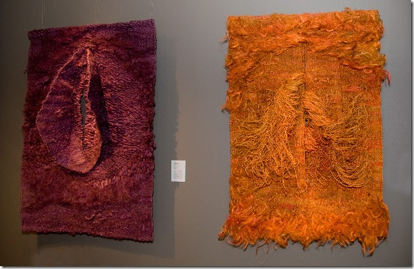 Two fiber tapestries by Magdalena Abakanowicz at Browngrotta Gallery.