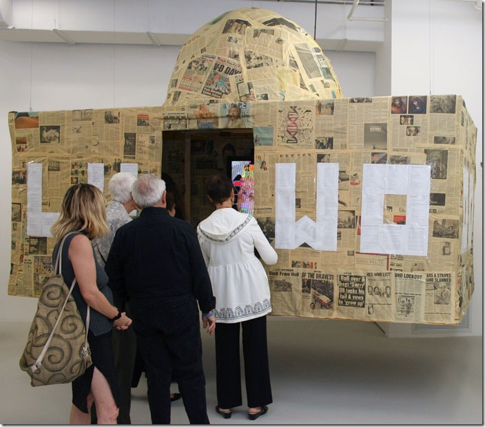 Because Washington Is Hollywood for Ugly People, by Kenneth Tin-Kin Hung, is a mixed-media installation consisting of two parts: a high-definition video and a papier-mâché structure with inkjet prints. (Photo by Katie Deits)