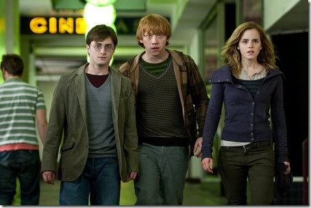 Daniel Radcliffe, Rupert Grint and Emma Watson in Harry Potter and the Deathly Hallows, Part 1.