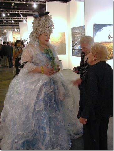 Lucinda Linderman shows off her plastic-bag Marie Antoinette costume. (Photo by Jenifer M. Vogt)