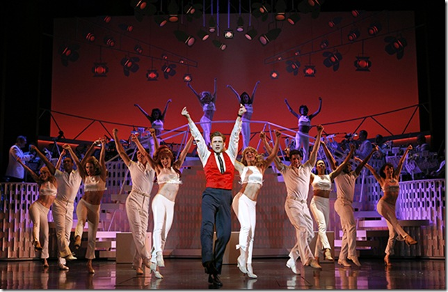 Aaron Tveit and the cast of Catch Me if You Can. (Photo by Joan Marcus)