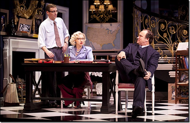 Robert Sean Leonard, Nina Arianda and Jim Belushi in Born Yesterday.