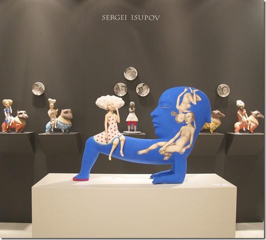 The surrealist ceramics of Sergei Isupov were showcased at Ferrin Gallery's exhibit last week at Art Miami. (Photo by Elaine Meier).