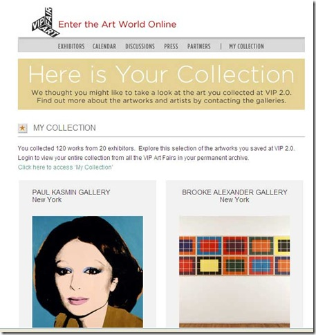 Shoppers at the VIP Art Fair got emails like this one.