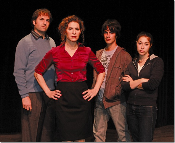 "Mark Sanders, Jodie Langel, Eddy Rioseco and Sarah Amengual in ""Next to Normal."" (Photo by Alberto Romeu)"