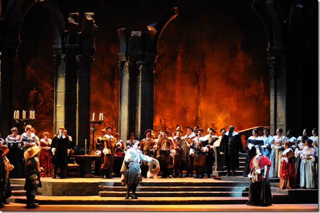 From Act II of Lucia, with Evanivaldo Correa as Arturo (center), Alfred Walker as Raimondo (on stairs) and Roman Burdenko as Enrico (right).
