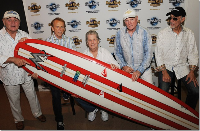 Not a surfer in the group, but the remaining originals -- Bruce Johnston, Al Jardine, Brian Wilson, Mike Love and David Marks -- gather backstage in Hollywood while making a $5,000 donation to the Surfrider Foundation. (Photo by Tom Craig)