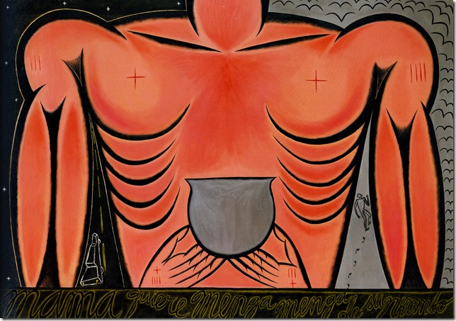 Mama Quiere Menga Menga de su Nkombo (Mama Wants Blood, Blood of His Bull; 1988), by José Bedia.