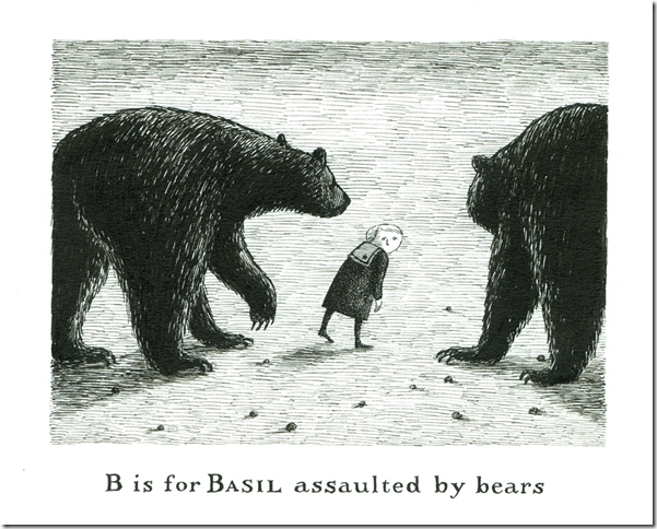 B is for Basil, from The Gashlycrumb Tinies (1963), by Edward Gorey.