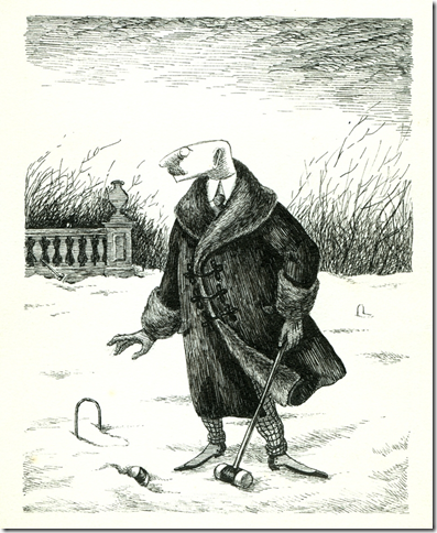 Mr. C(lavius) F(rederick) Earbrass studies a game left unfinished, from The Unstrung Harp (1953), by Edward Gorey.