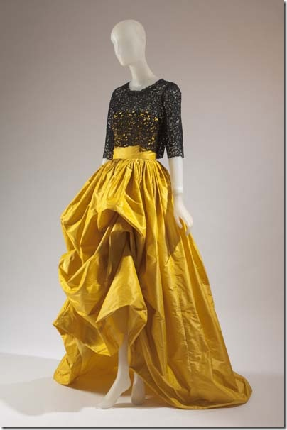 Silk taffeta ball gown with black Guipure lace bodice, by Oscar de la Renta.