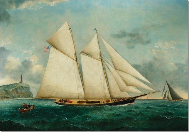 American Schooner Columbia Before Block Island (1884), by William G. Yorke.