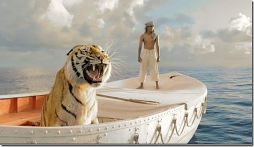 Suraj Sharma and tiger in The Life of Pi.