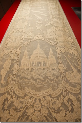 A textile featuring Prime Minister Winston Churchill's famous tribute to the aviators of the Battle of Britain.