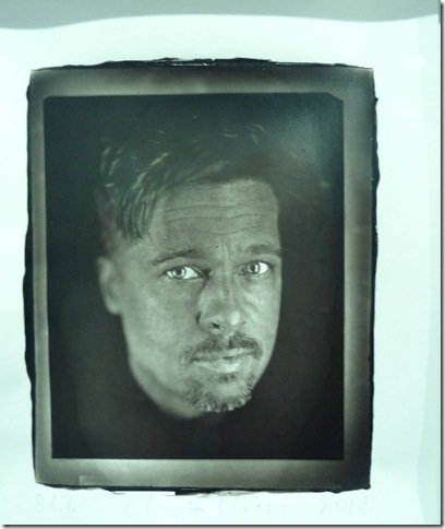 Actor Brad Pitt, in a Woodburytype by Chuck Close. (Photo by Katie Deits)