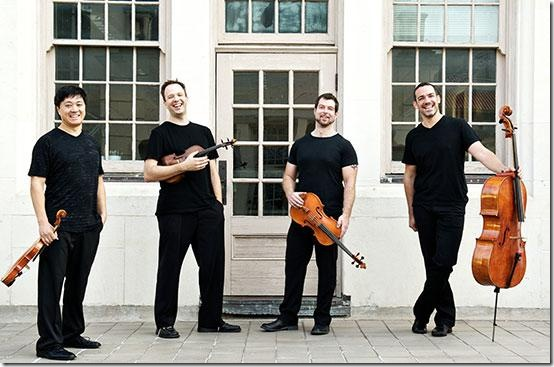 The Miró Quartet, from left: Daniel Ching, William Fedkenheuer, John Largess and Joshua Gindele. (Photo by Nathan Russell)