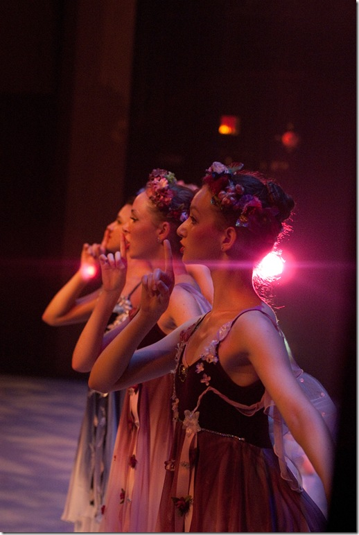 Left to right: Livvy Miles, Betty Anne Isiminger and Rebekah Levin in Wonderland.