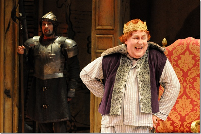 Jim Ballard (left) and Colin McPhillamy in Exit the King. (Photo by Alicia Donelan)