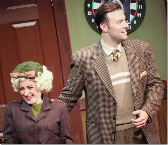 Jessica Carmen and Edward Miskie in Stage Door Theatre's production of Moon Over Buffalo.