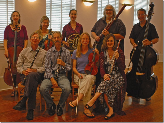 Members of the Palm Beach Chamber Music Festival, taken during the 2013 summer season. Flutist Karen Fuller Dixon is seated at far right in the front row.