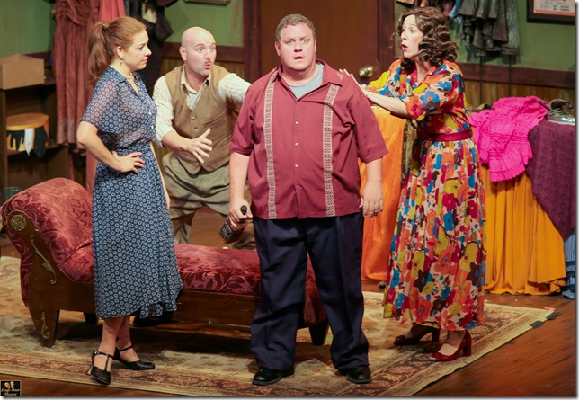 Susan Slotoroff, Andy Quiroga, Ken Clement and Michelle Foytek in Stage Door Theatre's production of Moon over Buffalo.
