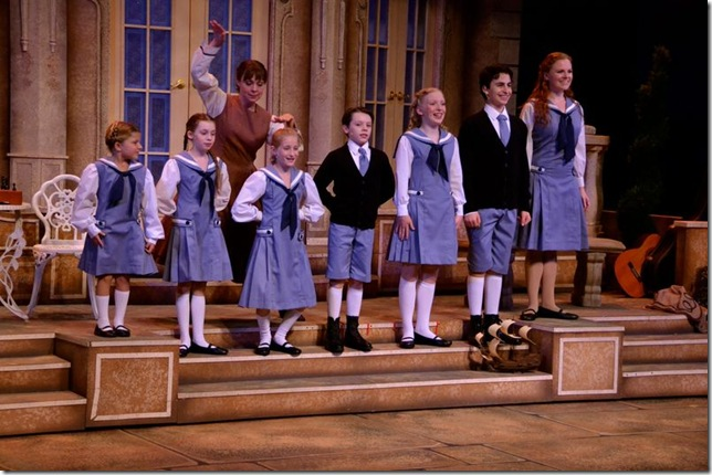 The Von Trapp children, left to right: Alexa Lasanta, Savannah Lawless, Emily Kirschner, Alexander Lawless, Megan Sell, Avrumie Spindel and Katie Hensley; Krista Severeid is behind them.  (Photo by Amy Pasquantonio)