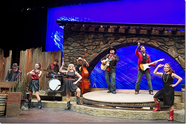 Chad Willow, Amberly Rosen, Tim Drake, Candice Lively, Ed Abila, Chet Wollan, Steve Lasiter and Peggy DeLocier in Ring of Fire. (Photo by Paul Nixdorf)