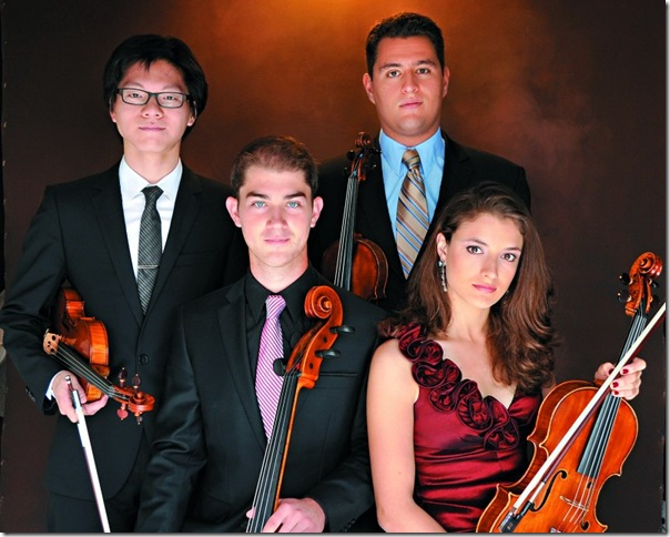 The Dover Quartet, from left: Bryan Lee, Camden Shaw, Joel Link and Milena Pajaro-van de Stadt. (Photo by Al Torres)