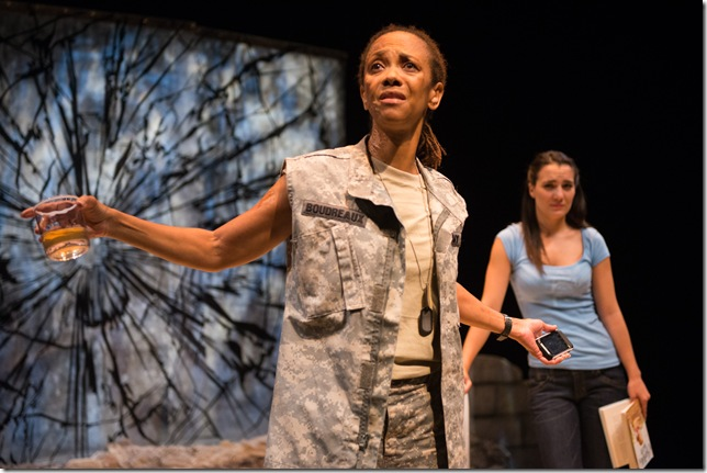 """Karen Stephens and Jessica Brooke Sanford in """"Fear Up Harsh,"""" at Zoetic Stage. The play, playwright Christopher Demos Brown, and Stephens and Sanford have all been nominated for Carbonell awards. (Photo by Justin Namon)"""