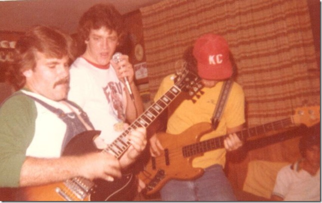 Matt Novak (left), with Danny DeBellvue and Mike McLaren, in the West Palm Beach band Hydragon, in 1978.