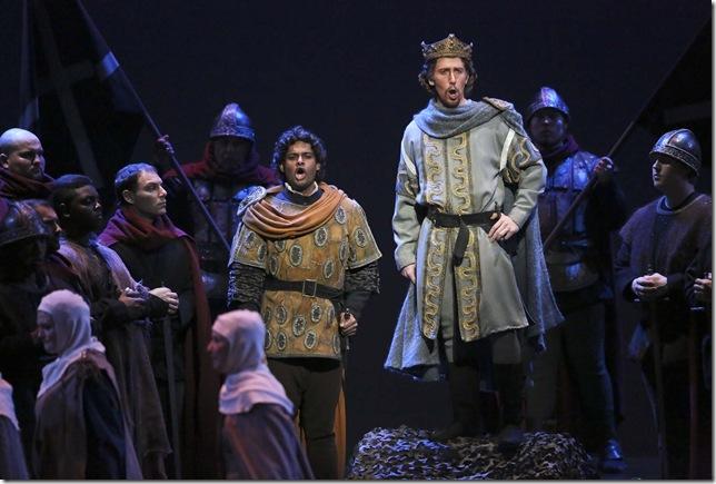 Sean Panikkar (left) as Macduff, with Joseph Dennis as Malcolm, in Macbeth.