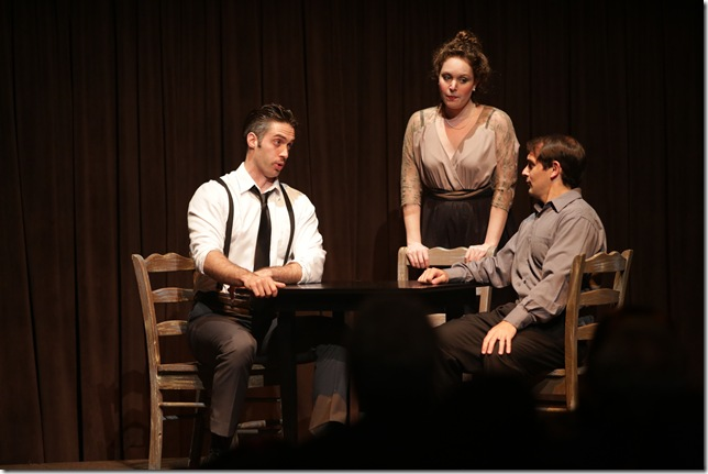 "Tobias Greenhalgh, Rachel Arky and Nicholas Nestorak in ""Our Town."""
