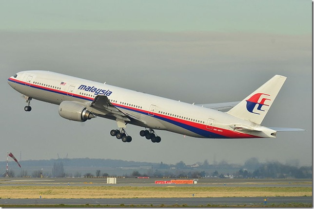The missing Malaysia Airlines Boeing 777. (Wikipedia Commons)