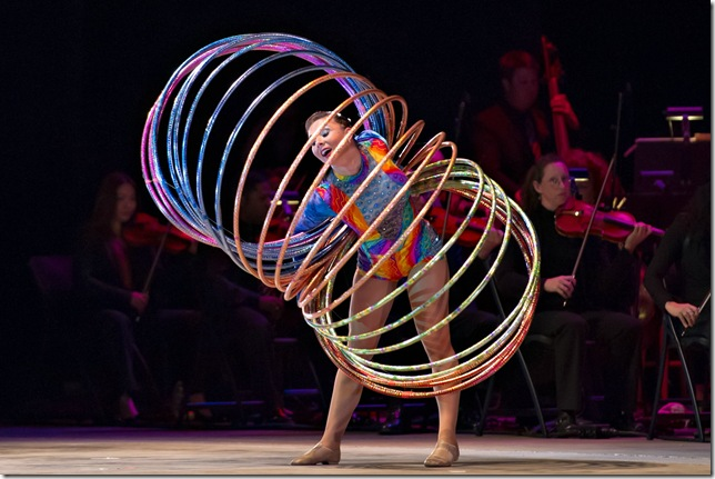 Spinning multiple hoops is Alina Sergeeva of Cirque de la Symphonie. (Sherry Ferrante Photography)