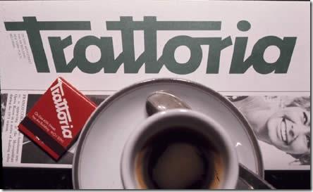 Logo for Trattoria restaurant, by Tony Palladino.