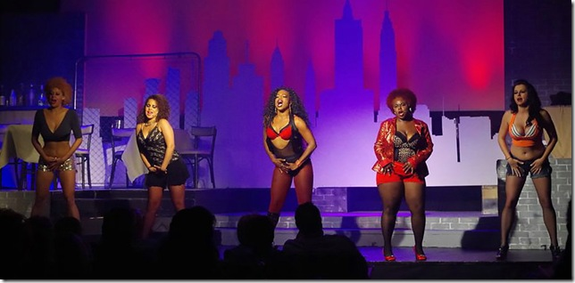 "Victoria Anderson, Jasmine Maslanova-Brown, Brettnie Blake, Kendra Williams and Alissa Kane in the Delray Square Performing Arts Center's production of ""The Life."" (Photo by Elle Cigana)"