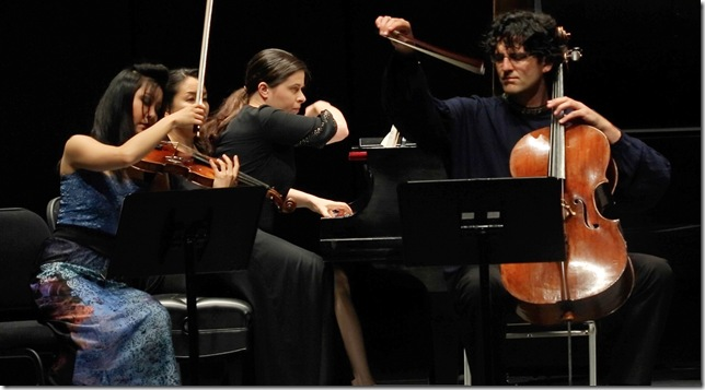 Susanne Hou, Marina Radiushina and Amit Peled, in concert June 22 in the Knight Concert Hall.