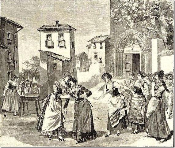 "A scene from ""Cavalleria Rusticana,"" drawn from the opera's 1890 premiere. (Wikimedia Commons)"