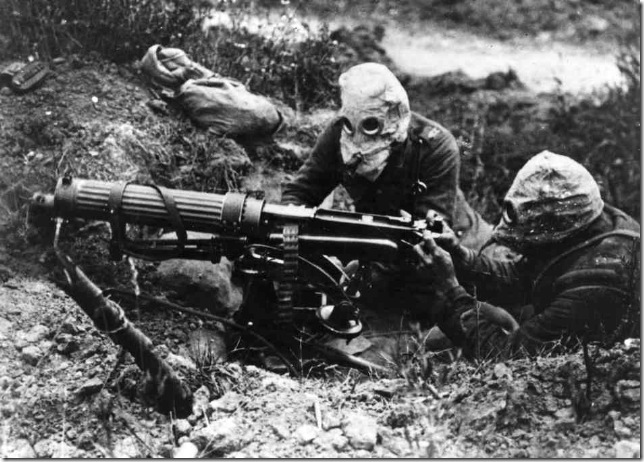 British soldiers wear gas masks during the Battle of the Somme, July 1916.