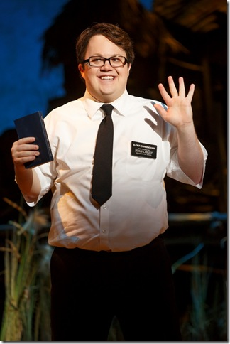 """Cody Jamison Strand in """"The Book of Mormon."""" (Photo by Joan Marcus)"""
