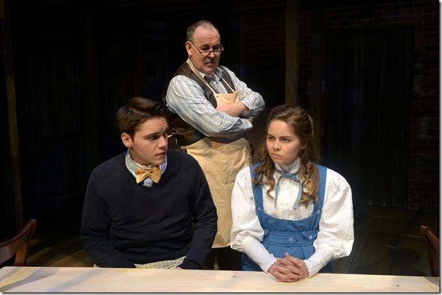 "Joe Ferrarrelli, Colin McPhillamy and Emiley Kiser in ""Our Town."" (Photo by Alicia Donelan)"