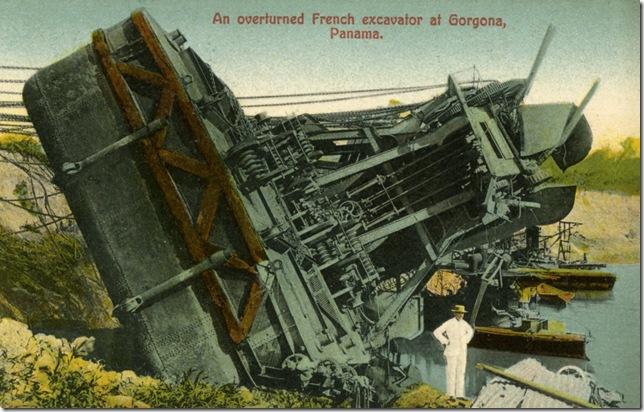 An overturned French excavator at Gorgona, Panama, ca. 1907.  Postcard.  Henry Morrison Flagler Museum Archives.
