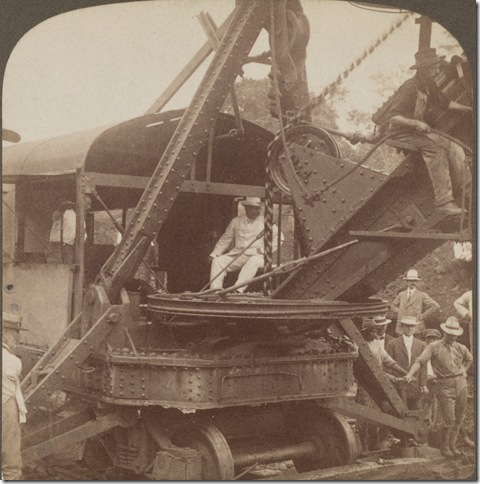 President Theodore Roosevelt at the controls of a steam shovel, 1906. Henry Morrison Flagler Museum Archives.