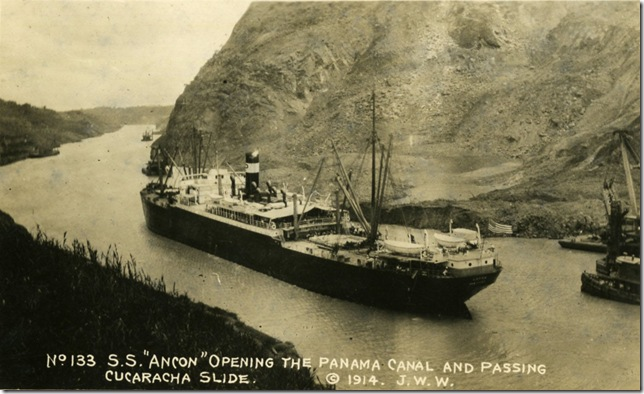 The S.S. Ancon passing through the Culebra Cut, during the first transit on the Panama Canal in 1914. Postcard. Henry Morrison Flagler Museum Archives.