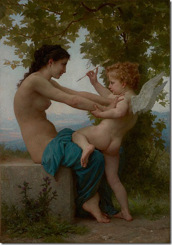 Young Girl Defending Herself Against Eros (1880), by Adolphe William Bouguereau.